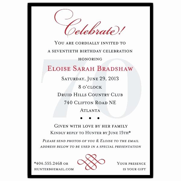 Surprise 70th Birthday Invitation Wording Luxury Classic 70th Birthday Celebrate Party Invitations