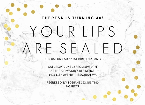 Surprise 70th Birthday Invitation Wording Luxury Lips Sealed Surprise 70th Birthday Invitation