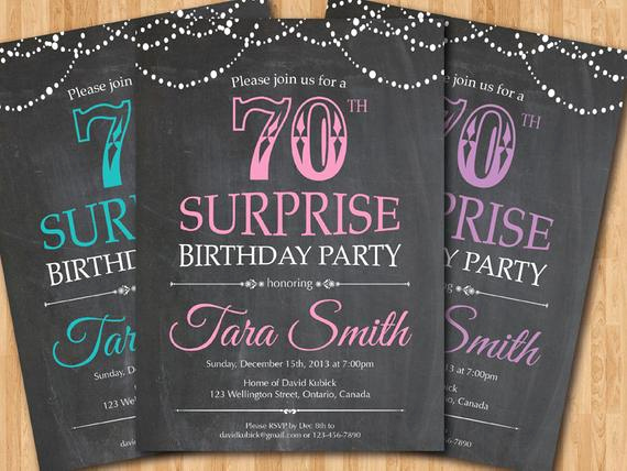 Surprise 70th Birthday Invitation Wording Luxury Surprise 70th Birthday Invitation Chalkboard Surprise