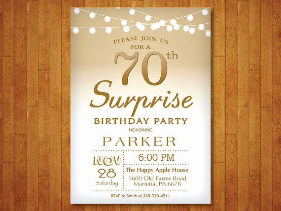Surprise 70th Birthday Invitation Wording Unique Surprise 70th Birthday Invitation Gold and White String