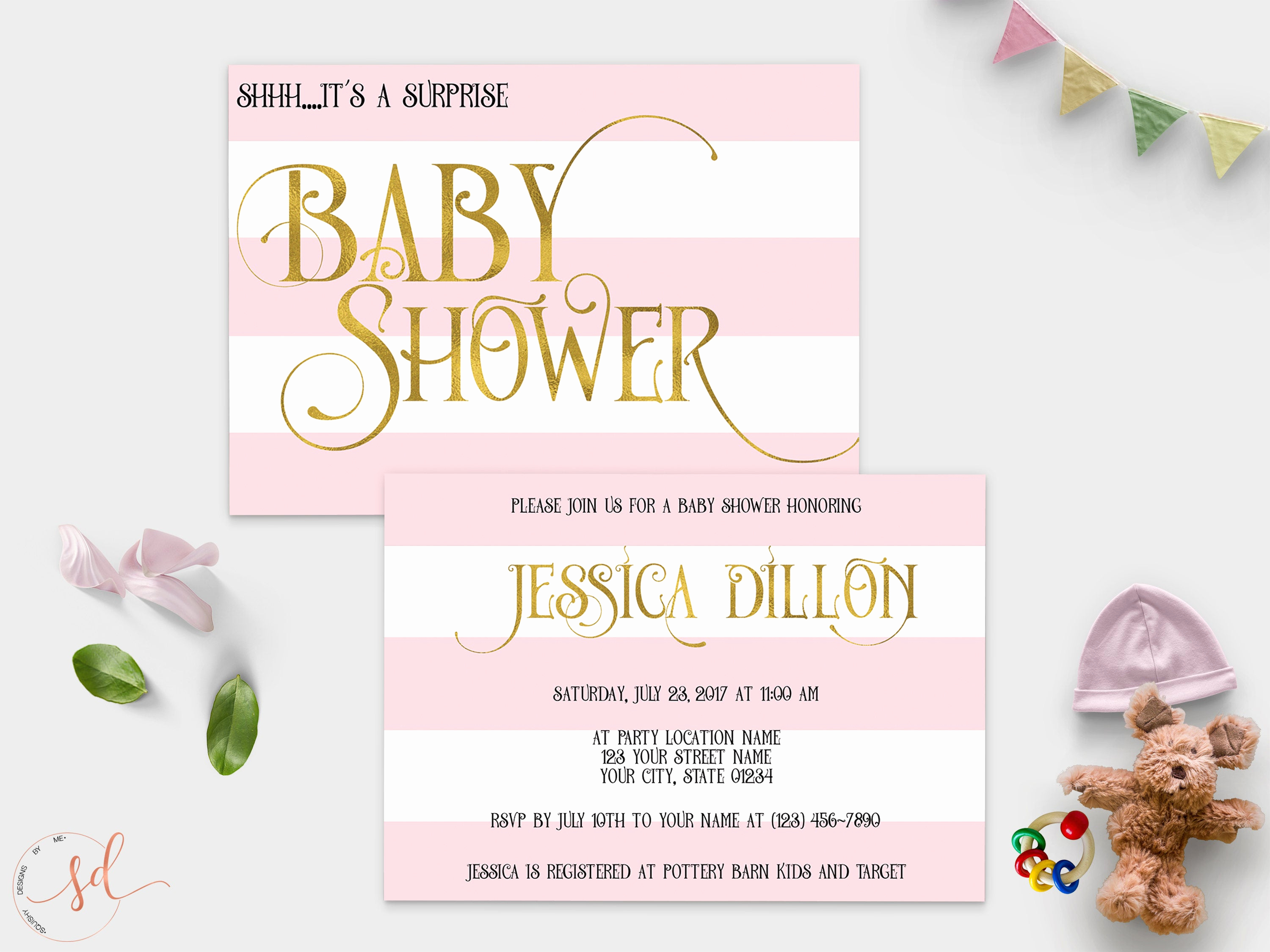 Surprise Baby Shower Invitation Beautiful Surprise Baby Shower Invitation Pink White Gold Stripes