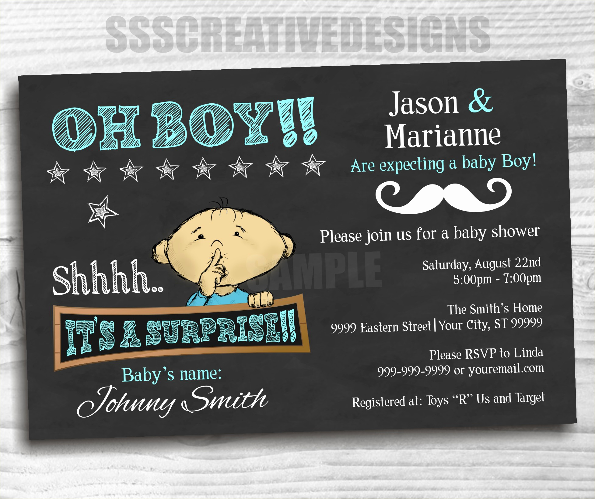 Surprise Baby Shower Invitation Elegant Baby Shower Boy – Blue – Invitation – Surprise – Chalk