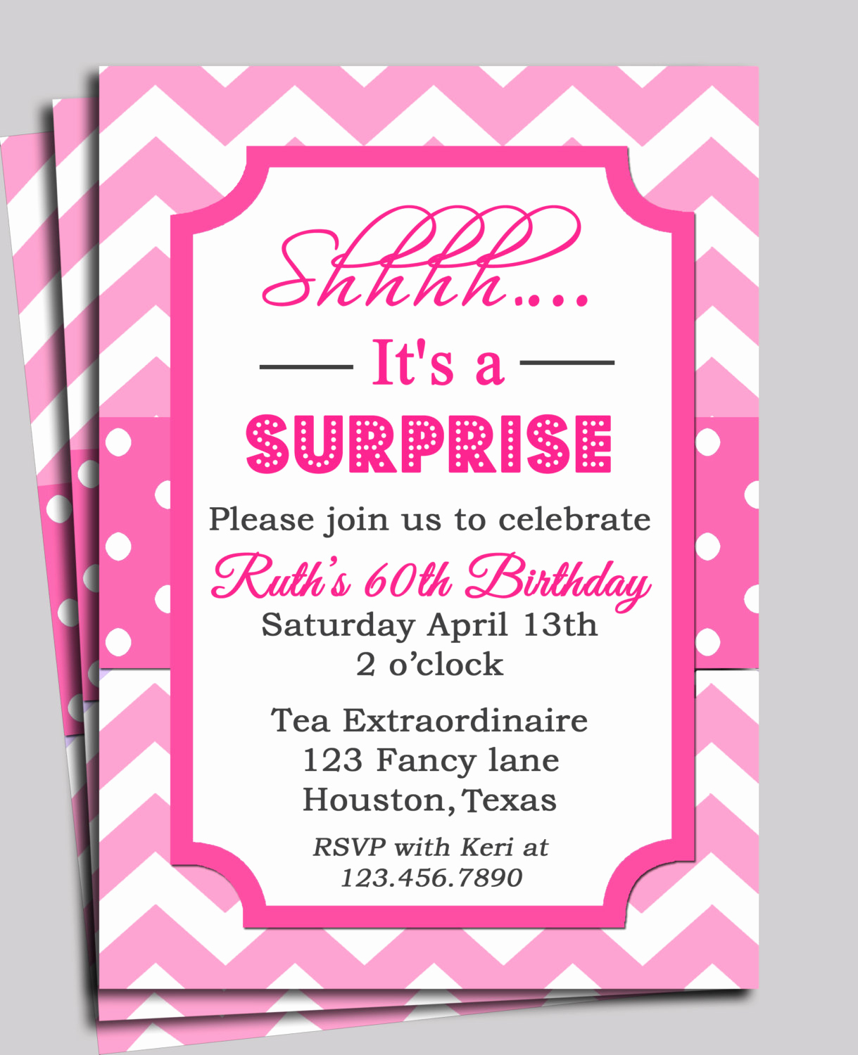 Surprise Baby Shower Invitation Elegant Chevron Invitation Printable or Free Shipping You Pick