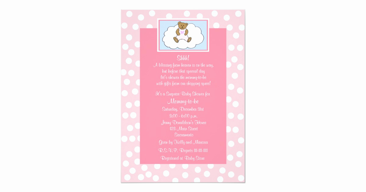 Surprise Baby Shower Invitation Inspirational Surprise Baby Shower Invitation Teddy Bear