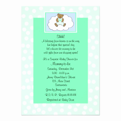 "Surprise Baby Shower Invitation Luxury Surprise Baby Shower Invitation Teddy On Green 5"" X 7"