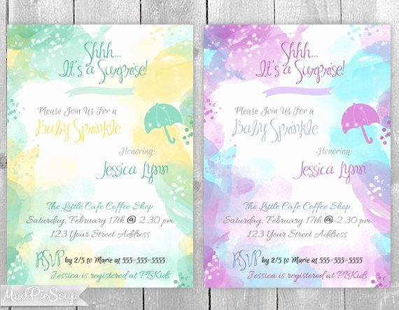 Surprise Baby Shower Invitation Wording Best Of Watercolor Surprise Baby Shower Sprinkle Invitations by