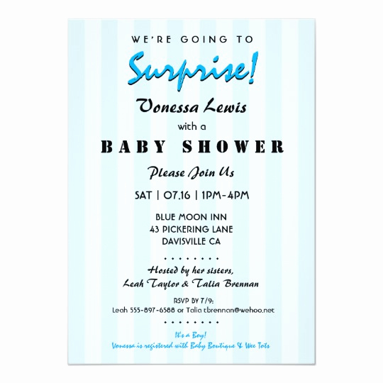 Surprise Baby Shower Invitation Wording Elegant Surprise Baby Shower Blue Stripes Invitation