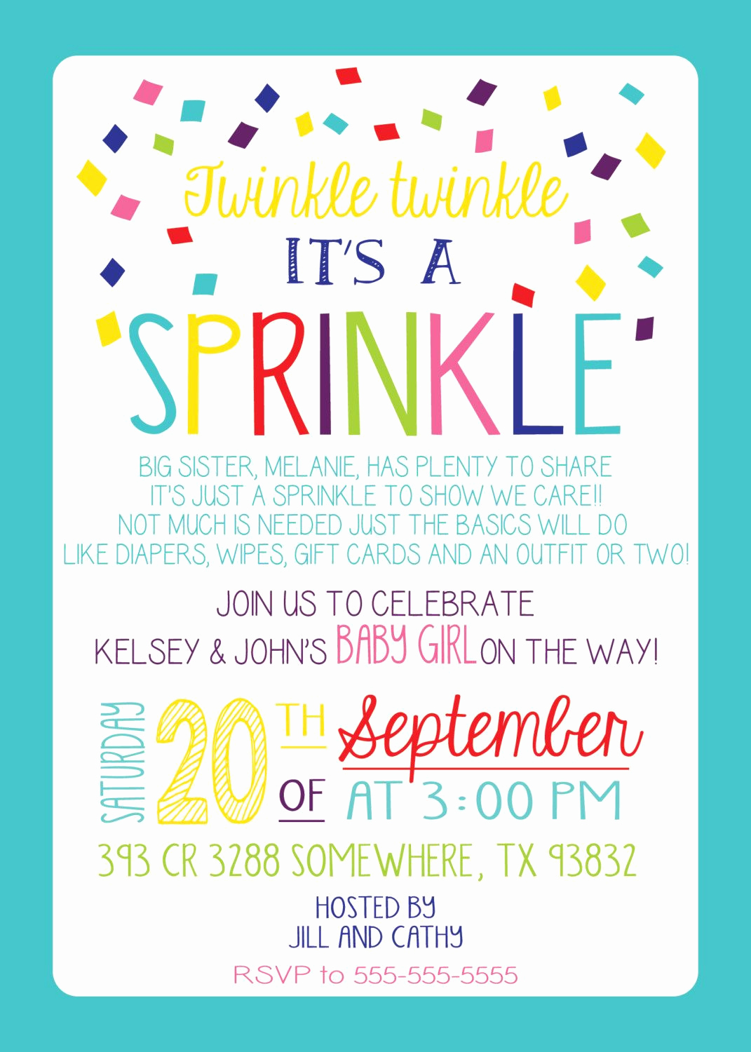 Surprise Baby Shower Invitation Wording Fresh Baby Sprinkle Invitation Girl Version Any Color Couples