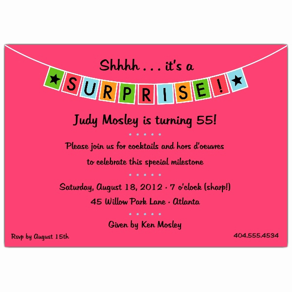 Surprise Birthday Invitation Wording Beautiful Banner Blue Surprise Party Invitations