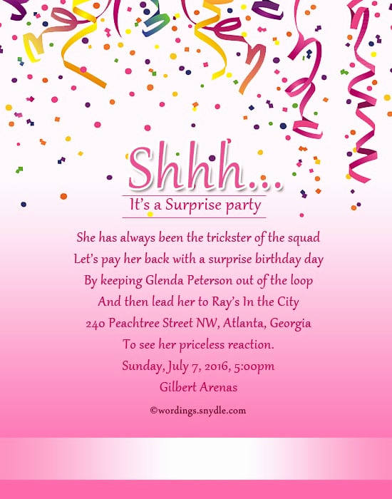 Surprise Birthday Invitation Wording Inspirational Wording for Sweet 16 Invitations