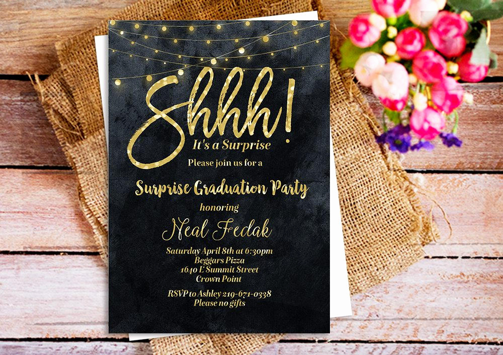 Surprise Birthday Invitation Wording Lovely Shhh It S A Surprise Party Invitation Gold Glitter Black