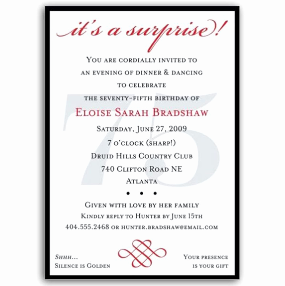 Surprise Birthday Invitation Wording Luxury Pin On Mom S 75th B Day