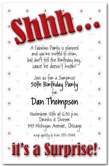 Surprise Birthday Invitation Wording Luxury Shhh Red Polka Dot Surprise Party Invitations