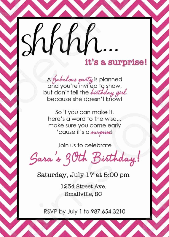 Surprise Birthday Invitation Wording New Chevron Surprise Party Invitation