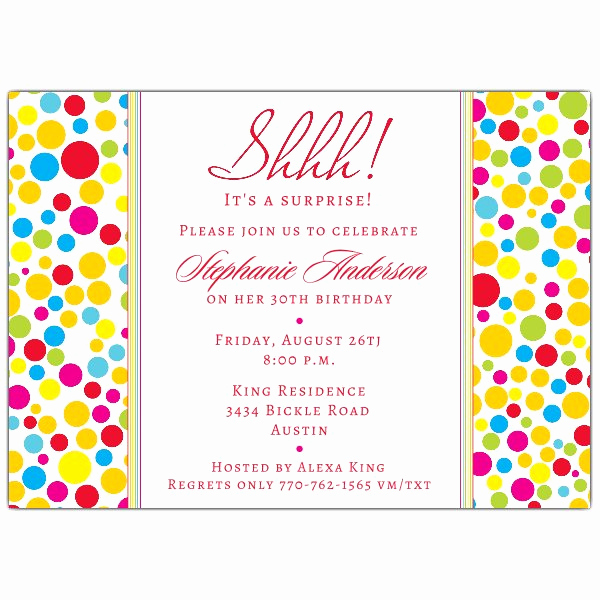 Surprise Birthday Party Invitation Wording Awesome Colorful Dots Red Surprise Birthday Invitations
