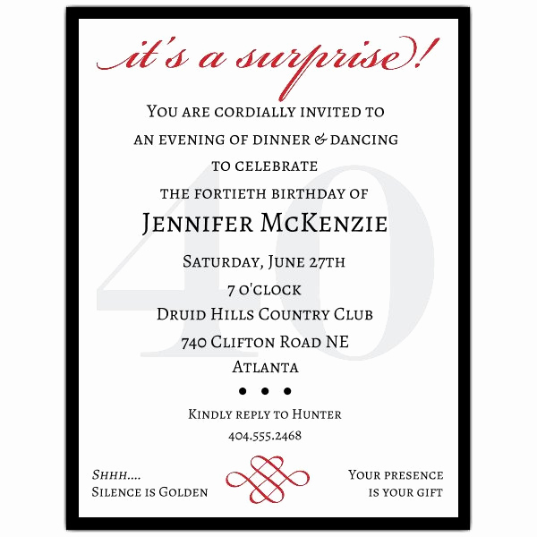 Surprise Birthday Party Invitation Wording Beautiful Classic 40th Birthday Surprise Party Invitations