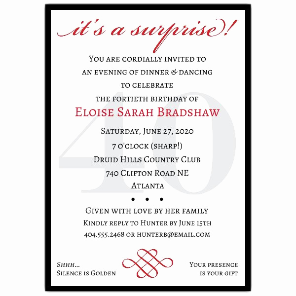 Surprise Birthday Party Invitation Wording Inspirational Classic 40th Birthday Surprise Party Invitations