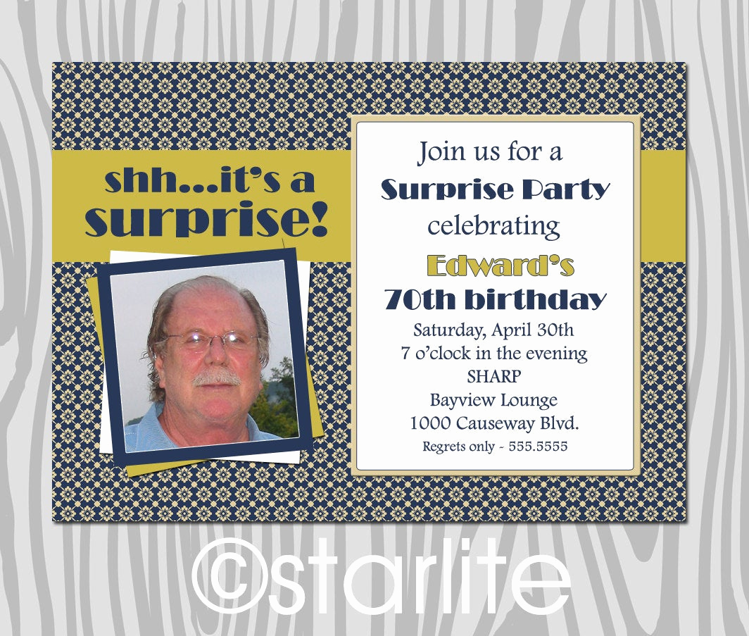 Surprise Birthday Party Invitation Wording Inspirational Milestone Birthday Party Invitation Photo Surprise by Starwedd