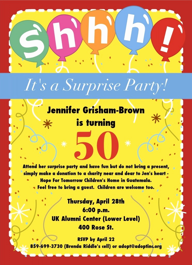 Surprise Birthday Party Invitation Wording Unique 50th Birthday Surprise Party Invitations