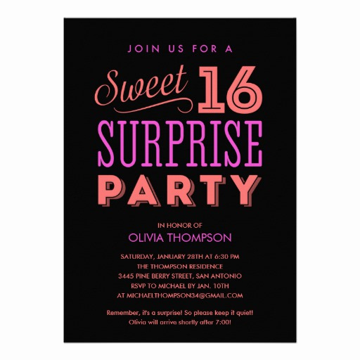 "Surprise Birthday Party Invitation Wording Unique Surprise Sweet 16 Invitations 5"" X 7"" Invitation Card"