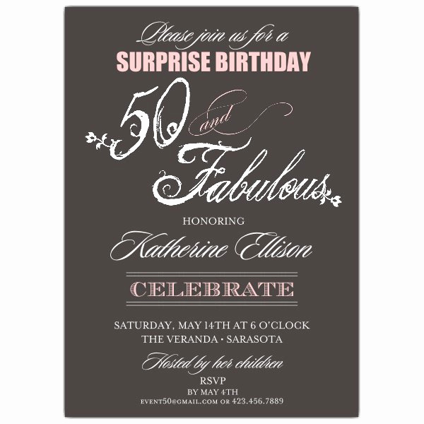 Surprise Graduation Party Invitation Wording Inspirational Fabulous Script 50th Birthday Invitations