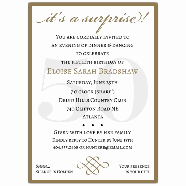 Surprise Graduation Party Invitation Wording Lovely Classic 50th Birthday Gold Surprise Party Invitations