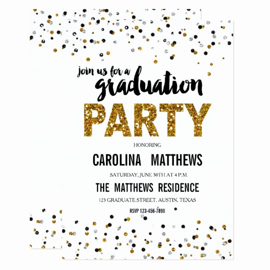 Surprise Graduation Party Invitation Wording Luxury Gold Glitter Polka Dot Graduation Party Invitation