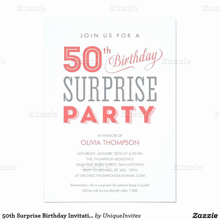 Surprise Party Invitation Wording Best Of Best 20 50th Birthday Invitations Ideas On Pinterest