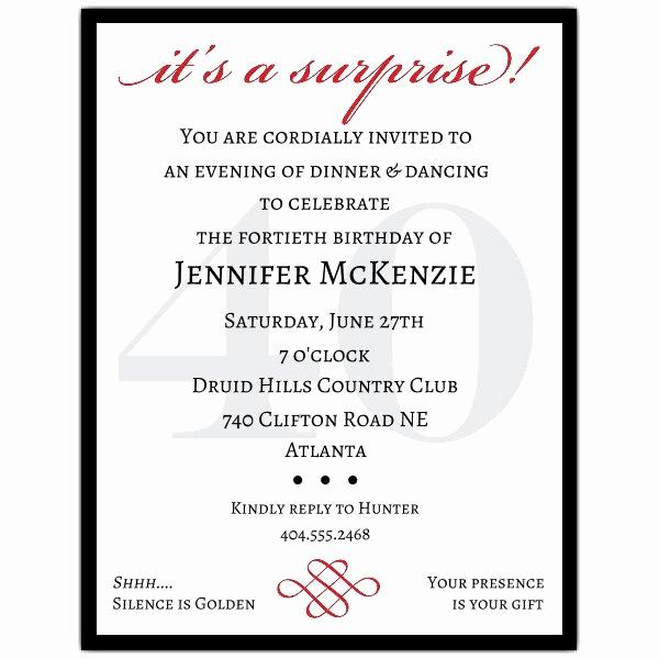 Surprise Party Invitation Wording Elegant Classic 40th Birthday Surprise Party Invitations