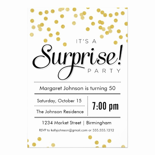 "Surprise Party Invitation Wording Lovely Confetti Surprise Party Invitation 5"" X 7"" Invitation Card"