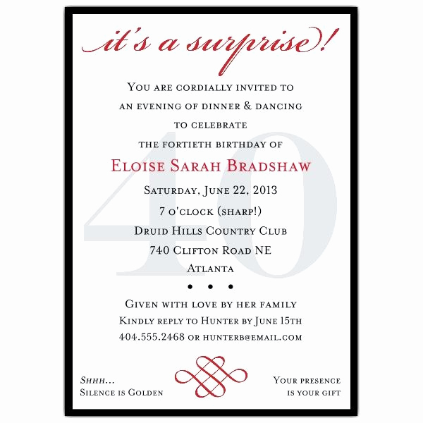 Surprise Party Invitation Wording New Classic 40th Birthday Surprise Party Invitations