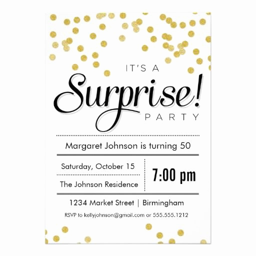 Surprise Party Invitation Wording New Confetti Surprise Party Invitation