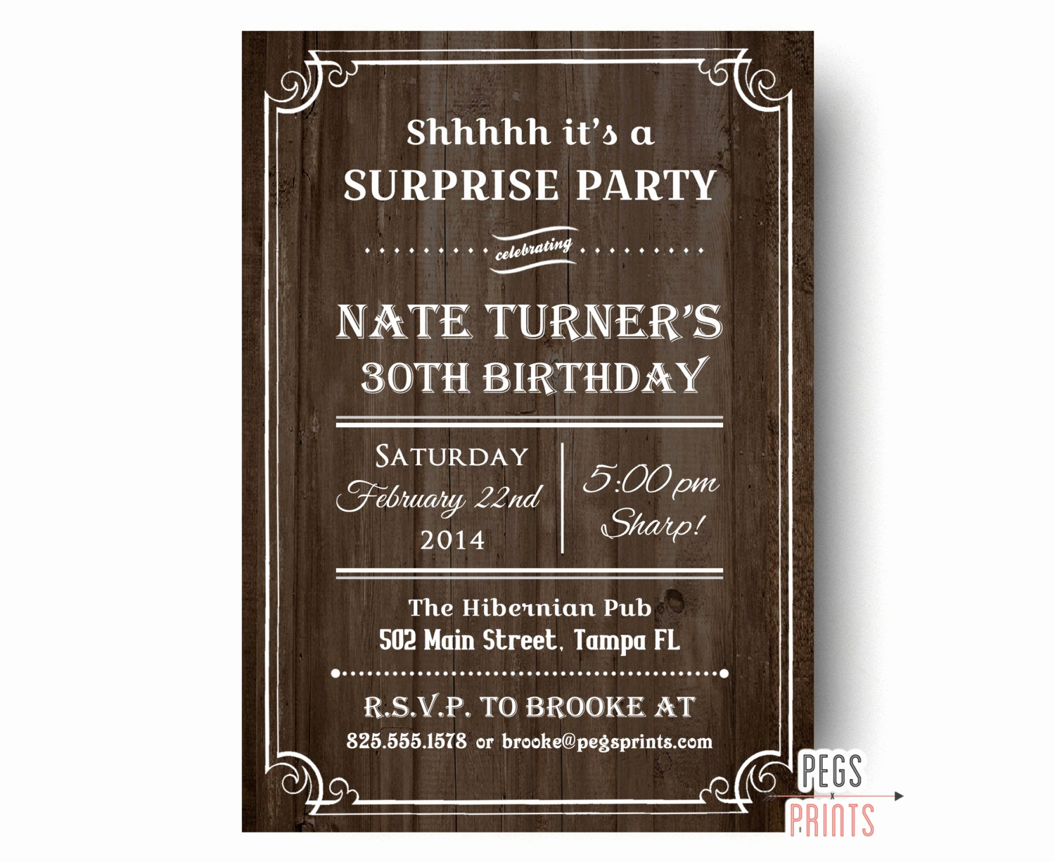 Surprise Party Invitation Wording New Rustic Surprise Party Invitations Printable Wood Surprise