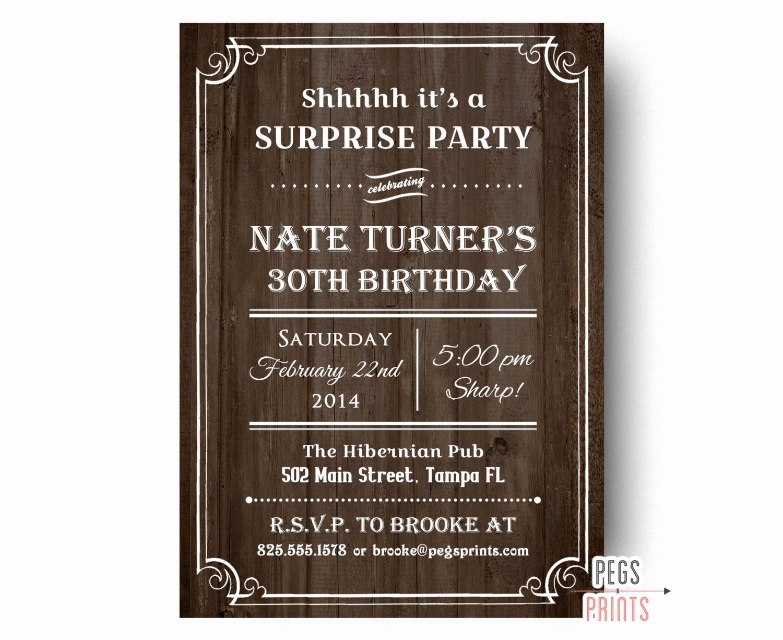 Surprise Party Invitation Wording New Rustic Surprise Party Invitations Printable Wood Surprise