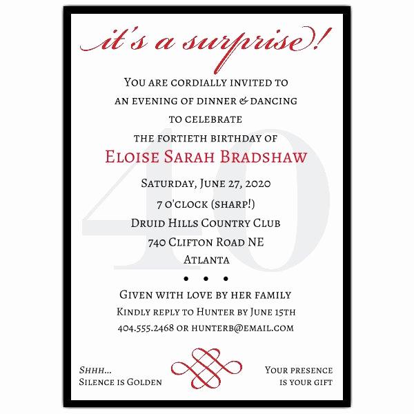 Surprise Party Invitation Wording Unique Classic 40th Birthday Surprise Party Invitations