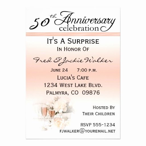 "Surprise Wedding Invitation Wording Fresh Surprise 50th Anniversary Party Invitations 5"" X 7"