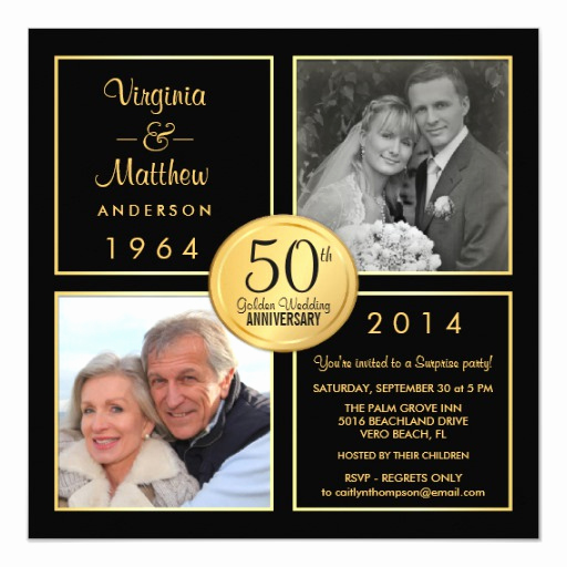 Surprise Wedding Invitation Wording Inspirational 50th Golden Wedding Anniversary Surprise Party 5 25x5 25