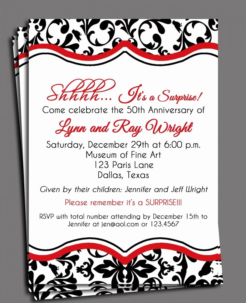 Surprise Wedding Invitation Wording Unique Black Damask Invitation Printable or Printed with Free