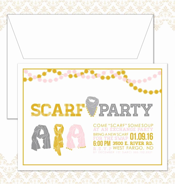 Swap Party Invitation Wording Awesome Scarf Swap Invite Scarf Exchange Party Invitation Winter