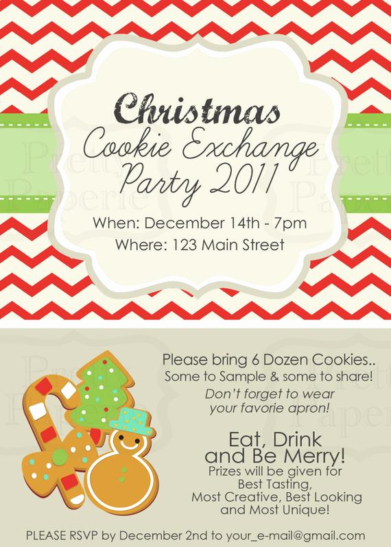 Swap Party Invitation Wording Inspirational Items Similar to Custom Cookie Exchange Party Invite