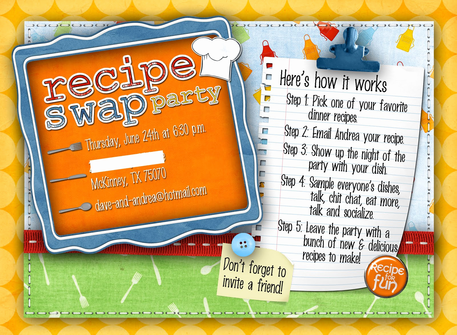 Swap Party Invitation Wording New Slightly askew Designs Recipe Swap Party Invite