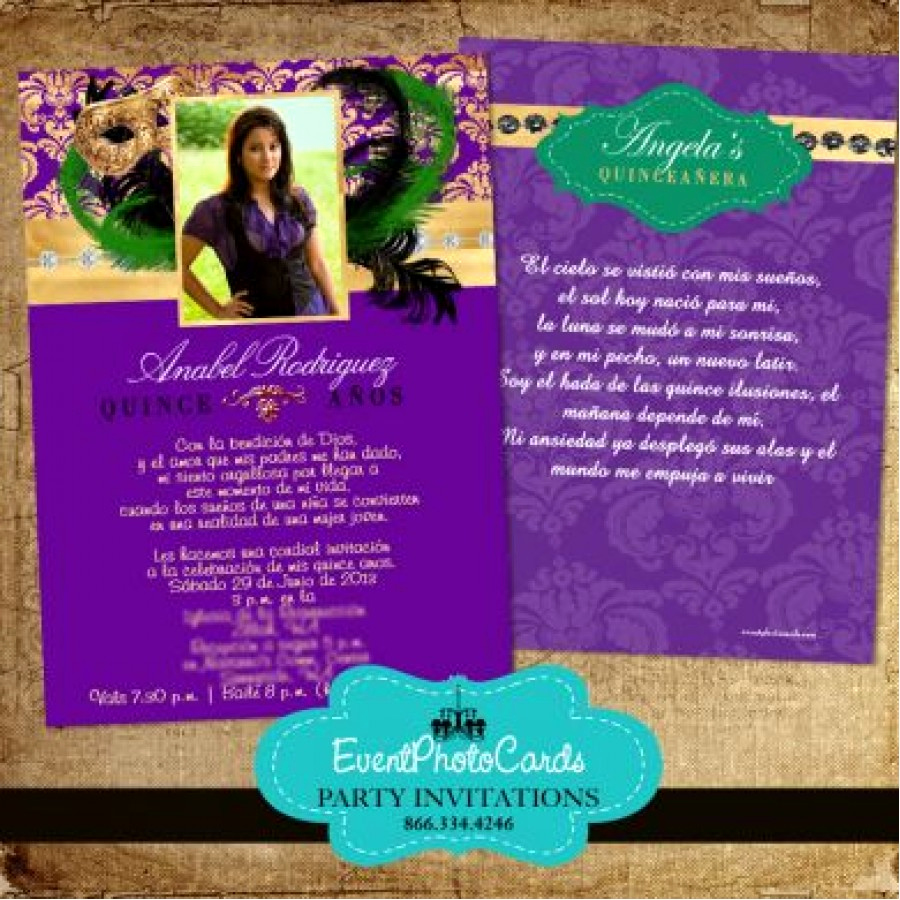 Sweet 15 Invitation Cards Best Of Mardi Gras Purple Gold Invitations for Sweet 15 or 16