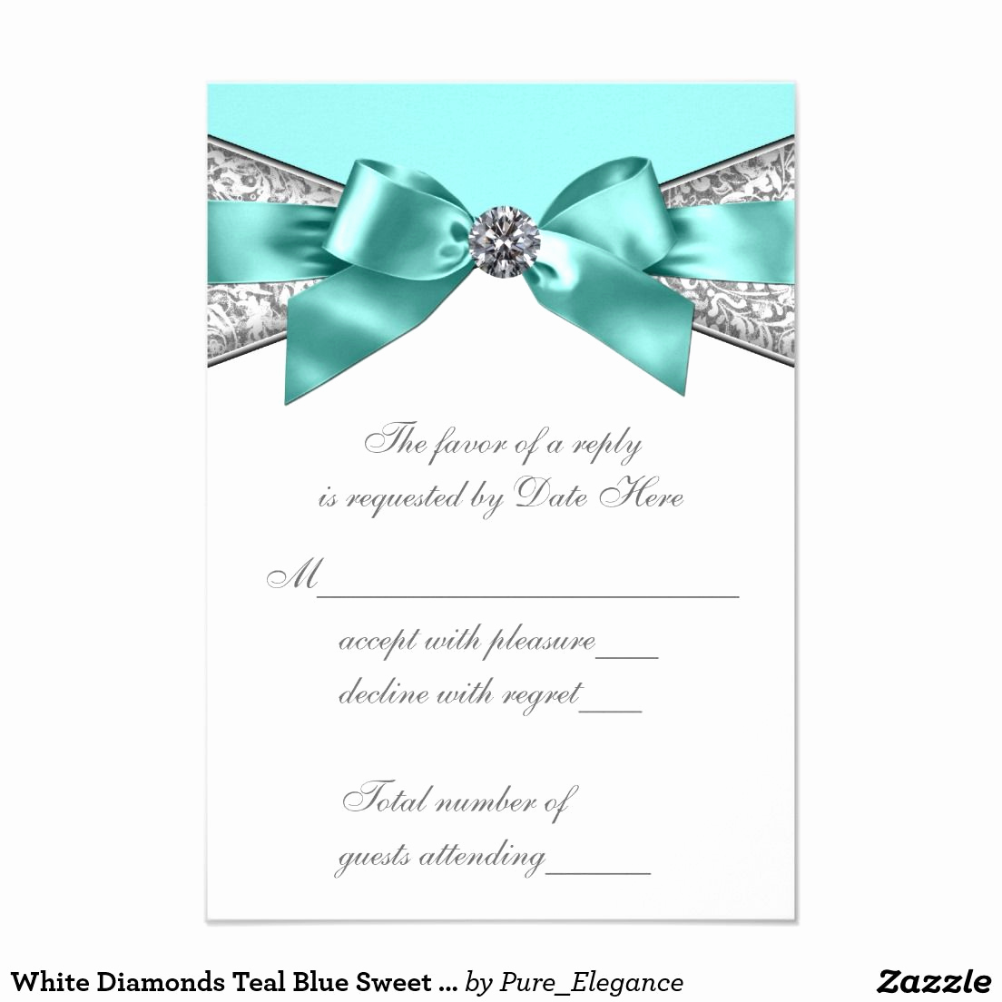 Sweet 15 Invitation Cards Best Of White Diamonds Teal Blue Sweet 16 Rsvp Zazzle