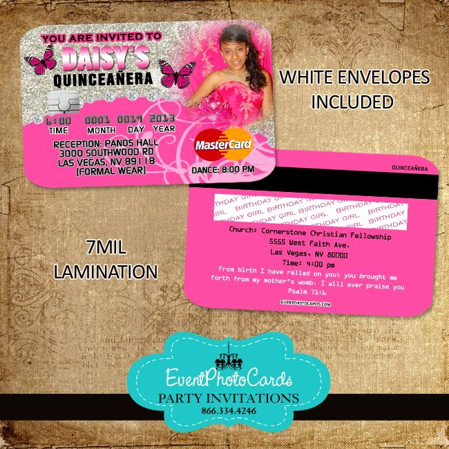 Sweet 15 Invitation Cards Fresh 21 Best Images About Credit Card Invitations On Pinterest