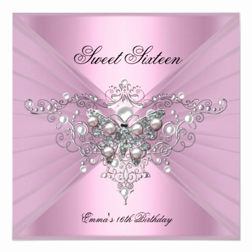 Sweet 15 Invitation Cards Fresh Sweet 16 Sixteen Birthday Party Pink butterfly Invitation