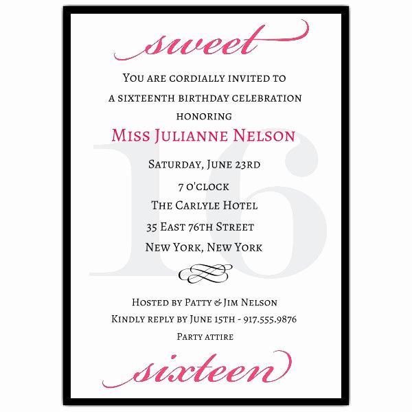 Sweet 15 Invitation Cards Inspirational Classic Pink Sweet 16 Birthday Invitations