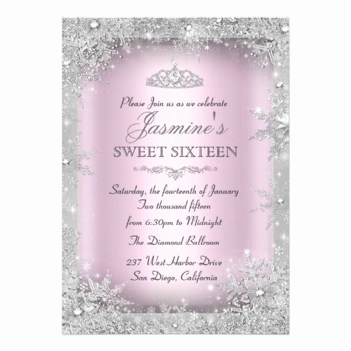 Sweet 15 Invitation Cards Inspirational Silver Winter Wonderland Pink Sweet 16 Invitation