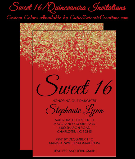 Sweet 15 Invitation Cards Inspirational Sweet 16 Invitations Quinceanera Invitation Red and Gold