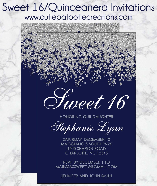 Sweet 15 Invitation Cards Luxury Sweet 16 Birthday Invitations Quinceanera Invitation Navy