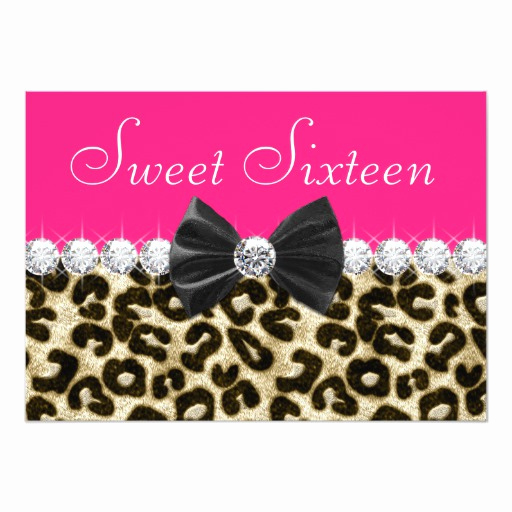 Sweet 15 Invitation Cards Unique Hot Pink Leopard Sweet Sixteen Party 5x7 Paper Invitation